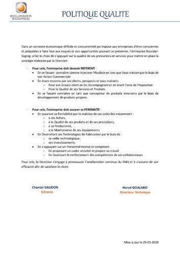 Injection plastique ISO 13485, politique qualité